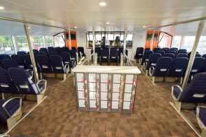 Upper Deck, lockers & view to wheelhouse